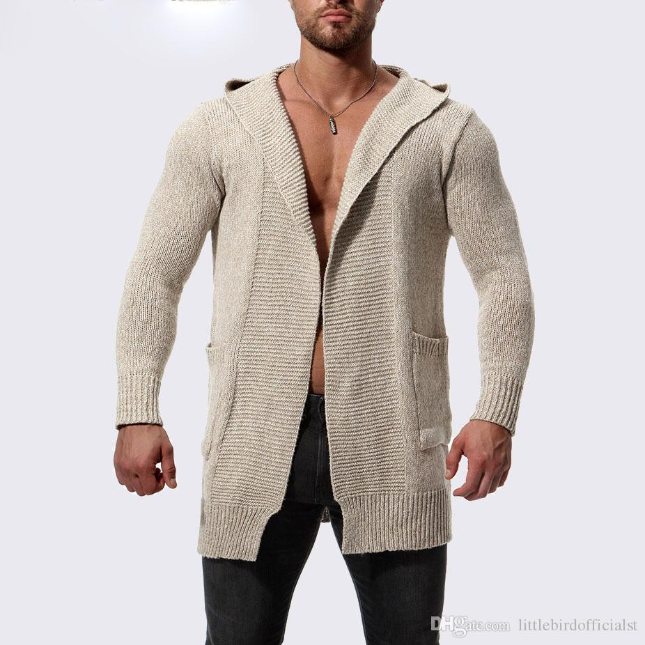 19ae5825009 Hooded men cardigan sweater Knitted sweater men Streetwear hip hop cardigan  men long style sweater coat sueter hombre