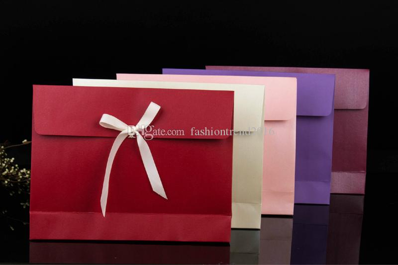 Envelope Gift Paper Box with Ribbon Postcard Packaging Boxes for Birthday Wedding Party Scarf Case