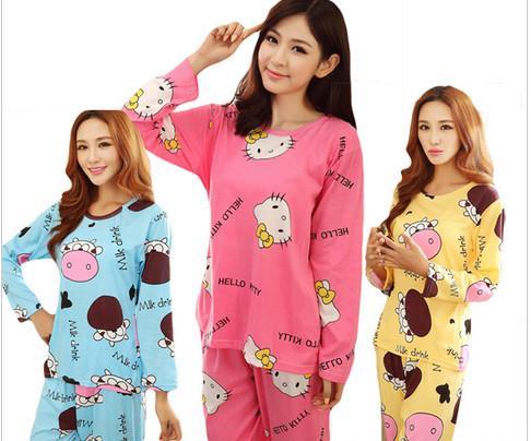 01992da32 Acheter 2018 Femmes Coton Pyjamas Hello Kitty Vêtements De Nuit Ensembles  Doux Pyjamas Femmes Chemise De Nuit De Style De Mode Ensembles New Arrivla  PJM004 ...