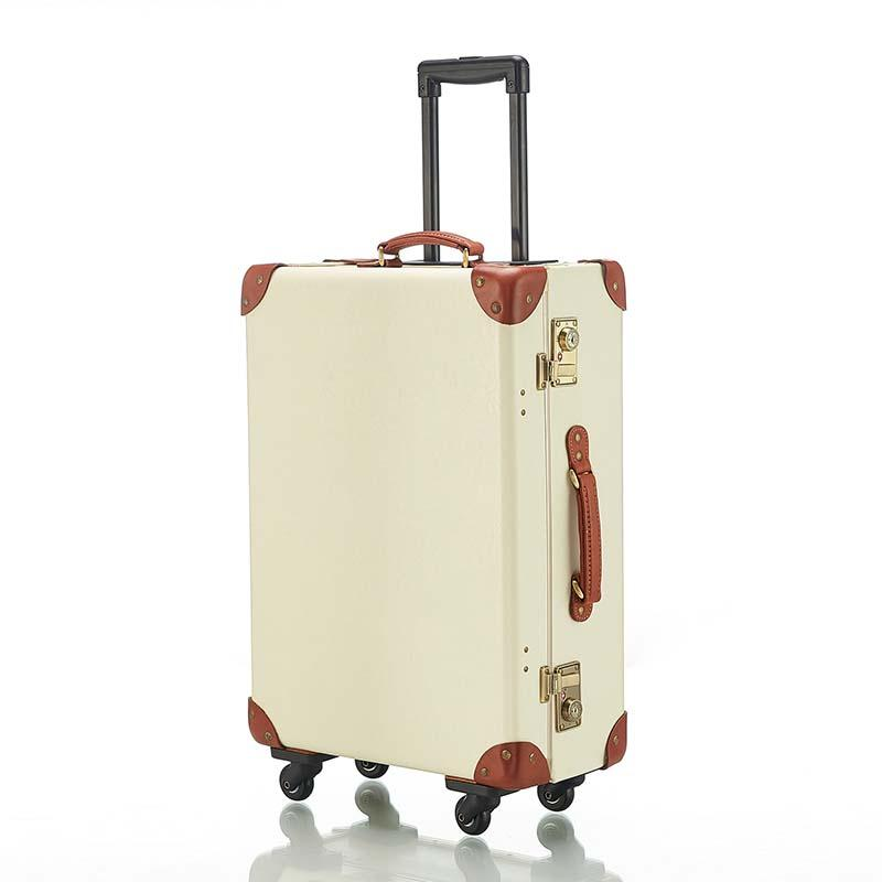 6a567c579 Retro PU Leather Rolling Luggage Spinner Women TSA Password Trolley Suitcase  Wheels 18 Inch Vintage Cabin Travel Bag Weekend Bags Travel Backpacks From  Faaa ...