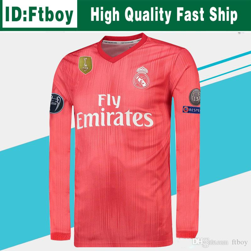 official photos 3301b cc772 Champions League Real Madrid Long Sleeve Third Soccer Jersey 18/19 Real  Madrid Red Soccer Shirt #11 BALE #22 ISCO 3rd Red Football Uniforms