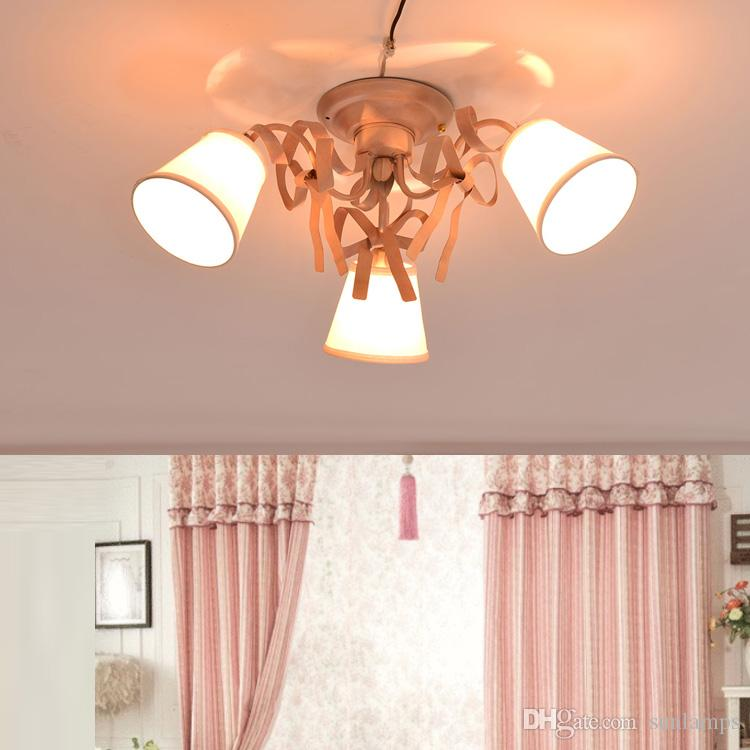 Korean Pastoral Living Room Bedroom Ceiling Lamps Iron Art Pink Led ...