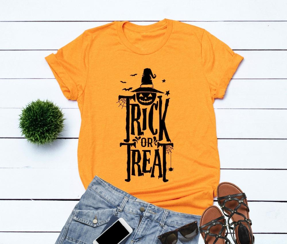 725875452 Women's Tee Trick Or Treat Shirt Happy Halloween Tshirt Creepy Pumpkin Women  Fashion Graphic Party Style Grunge Tumblr Shirt Aesthetic Tees
