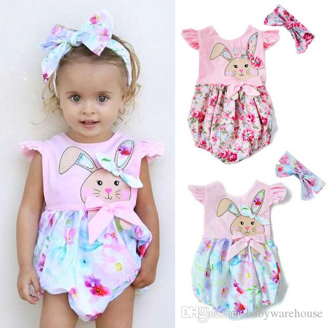 df852f3f8a28 2019 Easter Newborn Baby Girl Clothes Floral Bunny Rabbits Print Romper  With Headband Baby Girls Clothing Infant Kids Clothes Boutique From  Babywarehouse