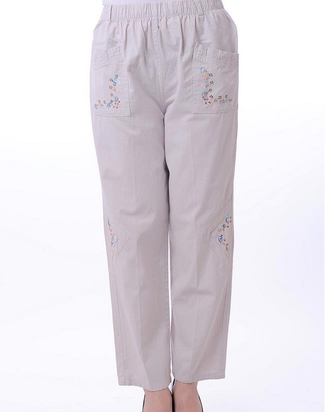 Mujer otoño más el tamaño de cintura alta elástico sólido recto pantalones de longitud completa Mujer verano delgado algodón bordado flojo pantalones