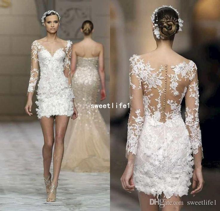 2019 Short Wedding Dresses Long Sleeve Lace 3D Applique Illusion Cheap Wedding Gowns Sheath Custom Made Sexy Beach holiday Wedding Dress