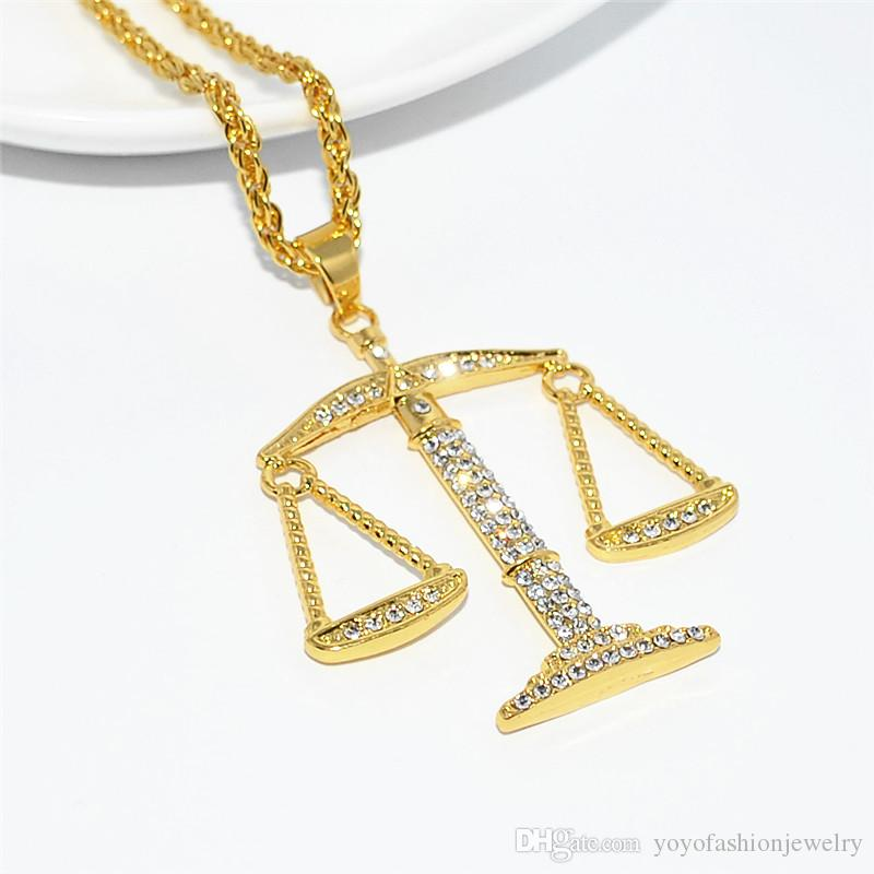Uodesign Balance Pendant Necklace & Pendant Alloy Gold Color Chain For Women/Men Rhinestone Hip Hop Bling Jewelry