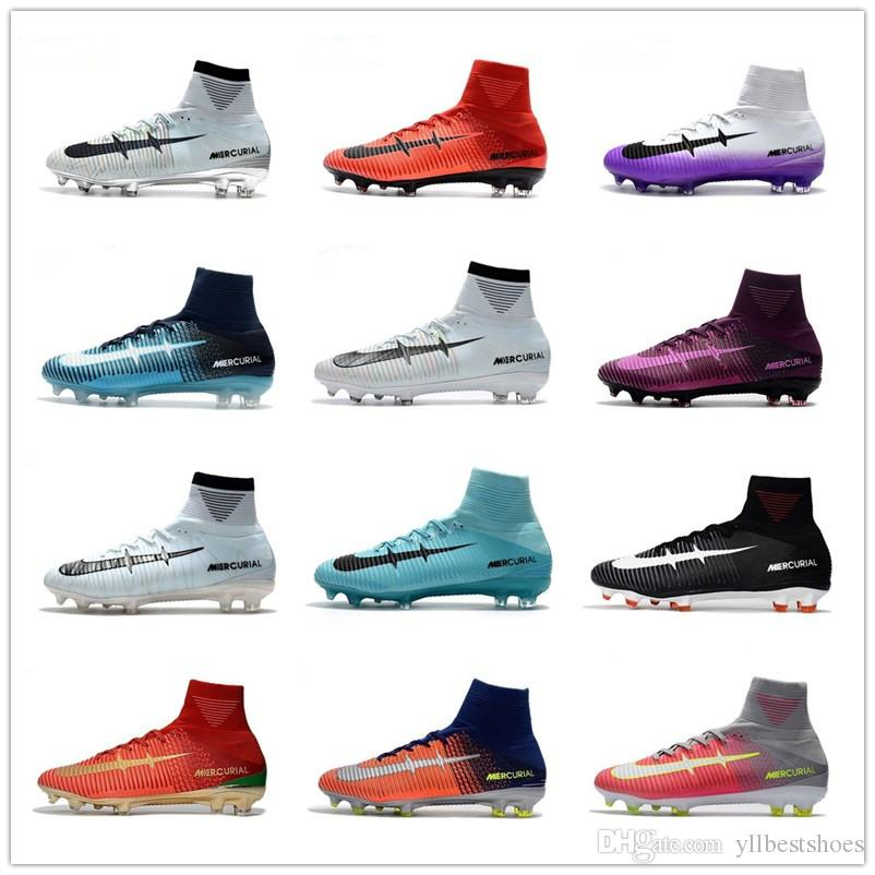 2017 All Colors Mercurial Superfly V FG Fire Red Soccer Boots For High  Quality CR7 5 X Fire FG Sports Football Shoes Soccer Cleats EUR 39 45 Rain  Boots Mens ... 891fb0c9a