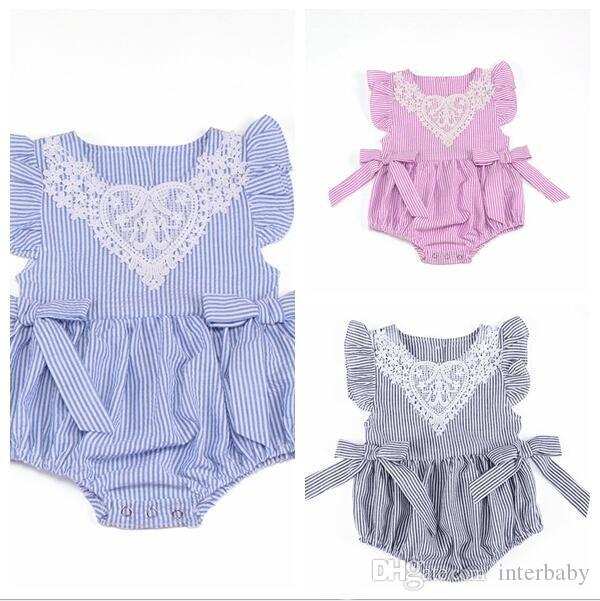 3de9847bba2 2019 Baby Clothes Infant Stripe Lace Rompers Newborn Fly Sleeve Sleeveless  Jumpsuit Toddler Fashion Tutu Bowknot Bodysuit Kids Clothing B3977 From  Interbaby ...
