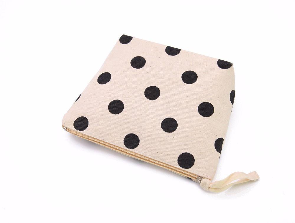 LG0104,Oivefeet Black Polka Dot Nature Cotton Canvas Cosmetic Bag