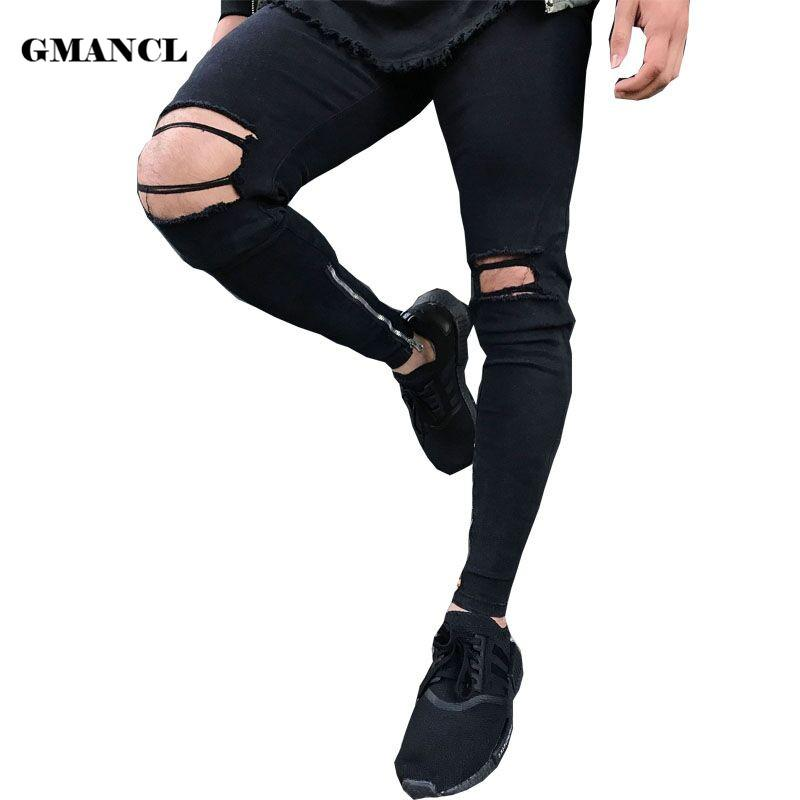 cf18f94edea 2019 New Black Ripped Jeans Men With Knee Holes Super Skinny Famous  Designer Brand Slim Fit Destroyed Torn Joggers Pants For Male From Roberr,  ...