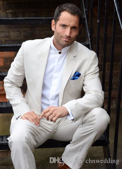 Özel Fildişi Yaz Plaj Erkekler 2018 Slimt Fit 2 Parça Suits Düğün Smokin Ceket + Pantolon Damat Blazer Balo Giymek