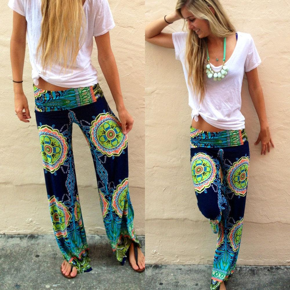 0f9bafa935 2019 2018 Floral Casual Wide Leg Long Harem Pants High Waist Loose Elastic  Waist Palazzo Trousers Plus Size New Beach Pants From Estartek2, $11.05 |  DHgate.