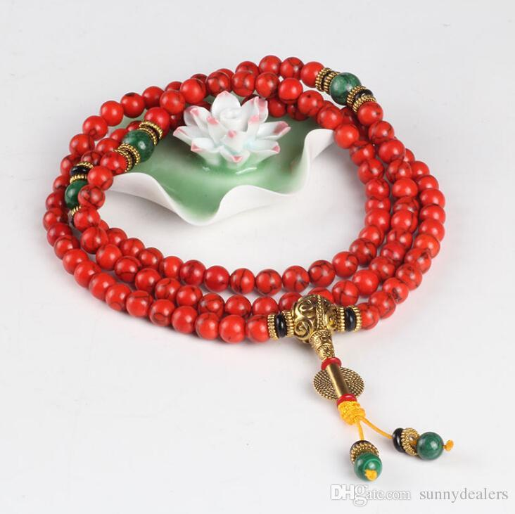 Drop Shipping New Design Nepalese Tibetan Style 8mm 108 Red Coral Prayer Bracelet Scattered Beads Chinese Retro Female Jewelry