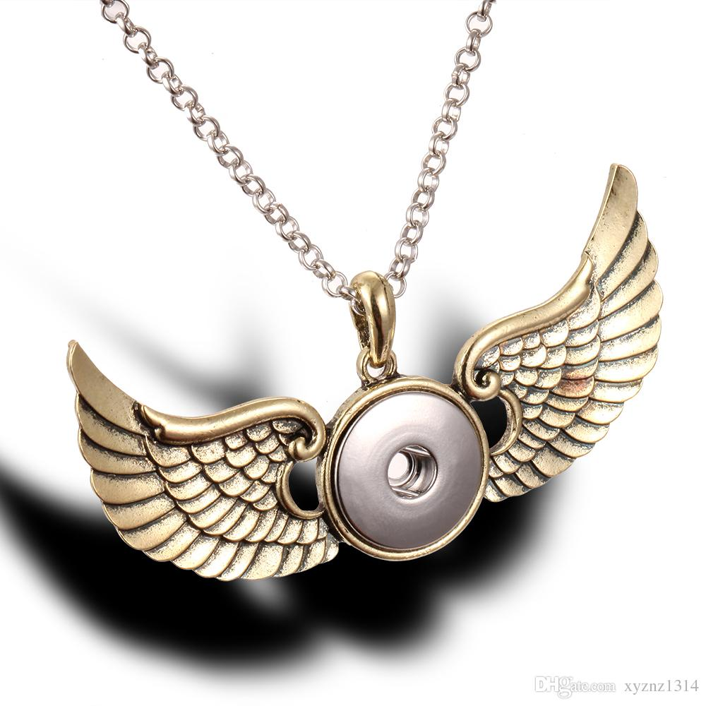 New Snap Button Jewelry Noosa Necklace Vintage Antique Silver Angel Wings Pendant Necklace for Men Women Jewelry