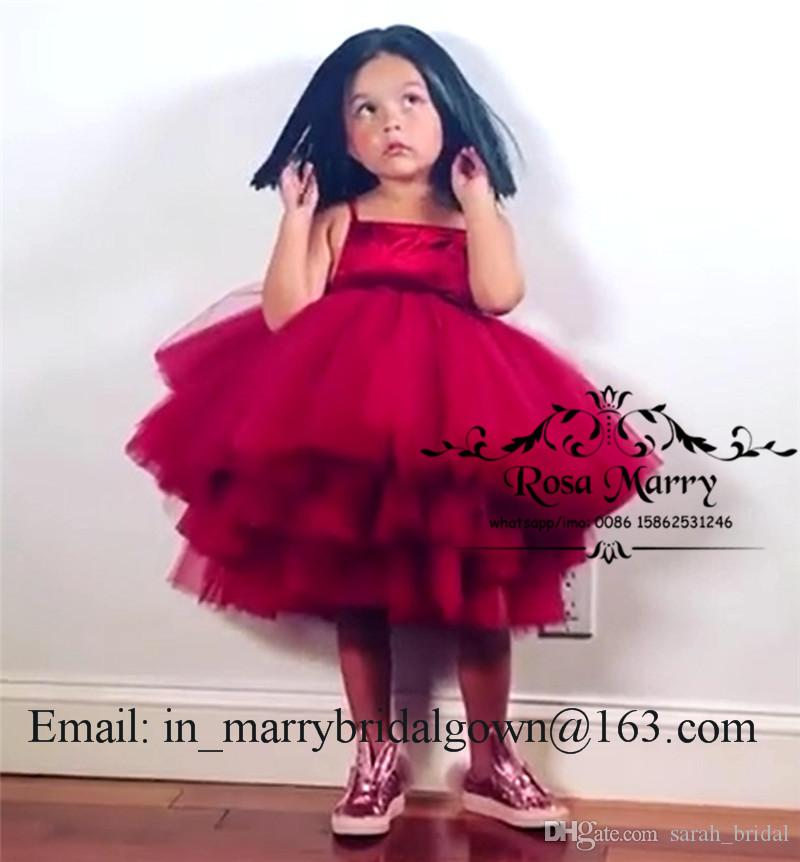 Lovely Red Ball Gown Short Flower Girls Dresses 2020 Puffy Tulle Tiered Skirt Plus Size Cheap Tea Length Mother and Daughter Matching Gowns