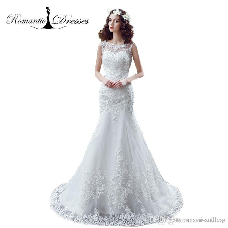 2017 mermaid wedding dresses romantic dresses lace appliques fitted