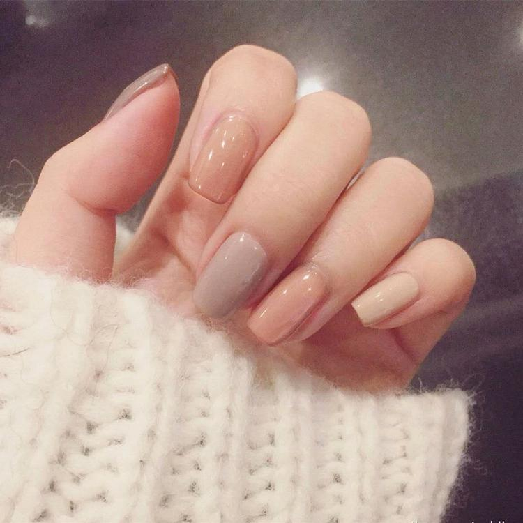 Light Pink Gray Nude Colors Lady False Nails Shiny Mix Color Press ...