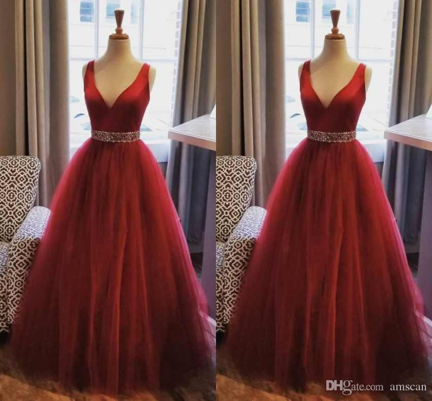 6d34557b00 Burgundy Prom Dresses 2019 V Neck A Line Evening Gowns With Beaded Sash  Sexy Back Floor Length Long Tulle Formal Party Bridemaid Dress Affordable  Prom ...