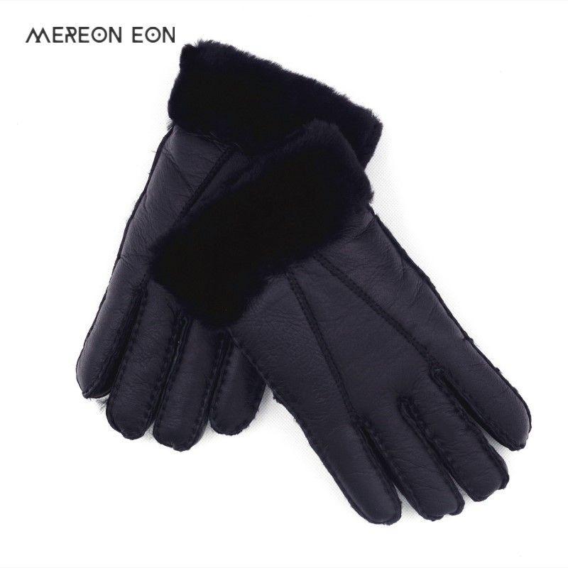 963b481c85b91 2018 high quality men's leather warm fur gloves natural sheep fur gloves  winter fashion outdoor locomotive five finger