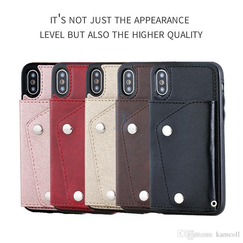 Carteira pu leather case para iphone 8 7 6 6 s plus wallet tampa traseira bolsa com slots de cartão de bolso lateral para samsung note8 s8