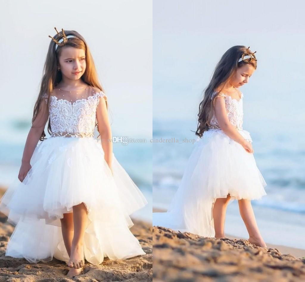 2018 new hi lo ball gown flower girl dresses sheer jewel neck 2018 new hi lo ball gown flower girl dresses sheer jewel neck appliques beaded sweep train tulle short cute girls pageant party gowns cheap flower girl tutu izmirmasajfo