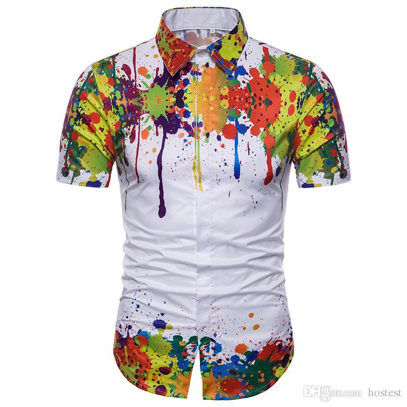 Compre 2018 Verano Shir Camisa De Los Hombres Europeos Y Americanos  Personalidad De Estilo Coreano Impresión 3D Salpicaduras Camisa De Manga  Corta Camisa De ... dc5f77c02bc