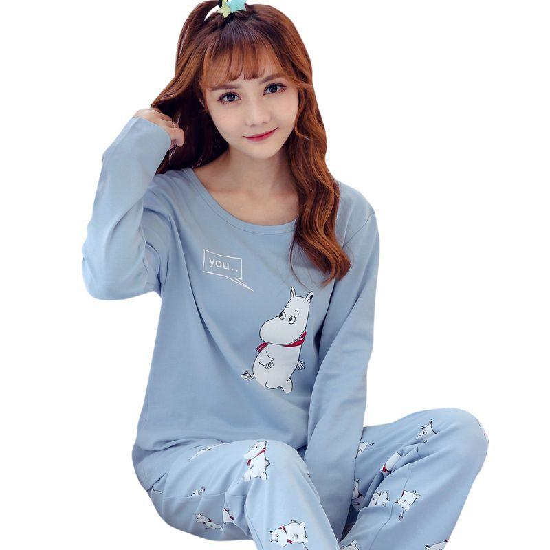 aa3924982d 2019 New Cute Sleepwear Women Pajama Sets Women Hippo Print Long Sleeve  Round Neck Blue Pants Pajama Set Big Size M XXL Sleep Lounge From Donaold