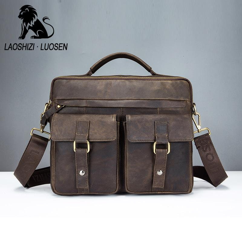 LAOSHIZI LUOSEN New Arrival Men S Shoulder Bags Satchel Genuine Cowhide  Leather Vintage Messenger Bags For Men Rugged Portfolio Cheap Purses  Wholesale ... b0d9427d00fbf