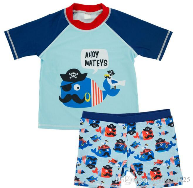 Ins fashion hot selling Boy kids two piece Set Swimsuit summer Boy cute Flower Sharlk Print Swimming clothes 4 styles free ship