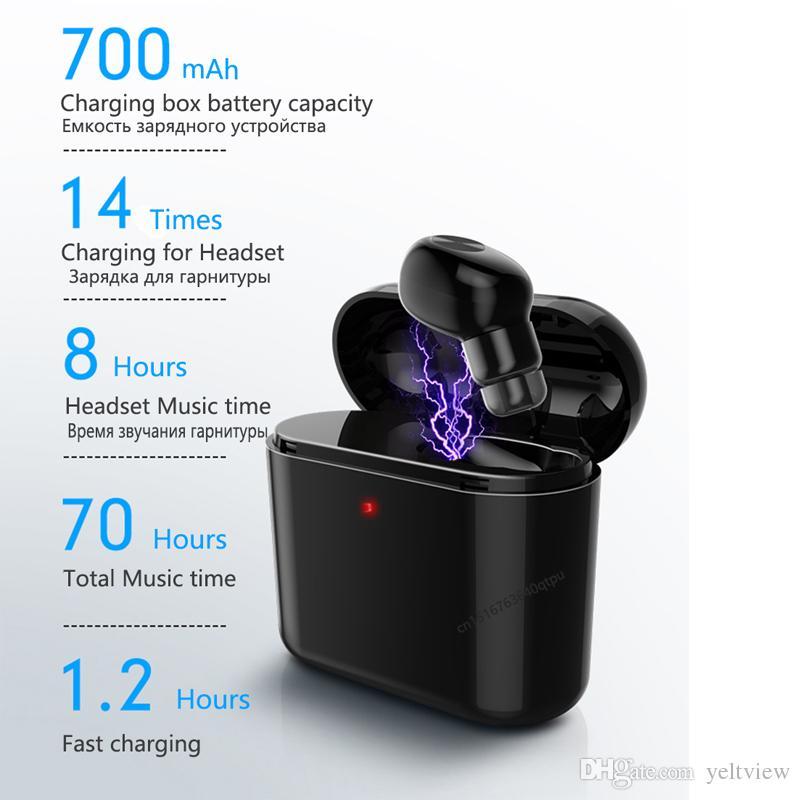 Auriculares inalámbricos Bluetooth Auriculares Mini BL1 Estéreo Pequeño Auricular individual con caja de carga 700mAh Invisible auricular Auriculares para el teléfono