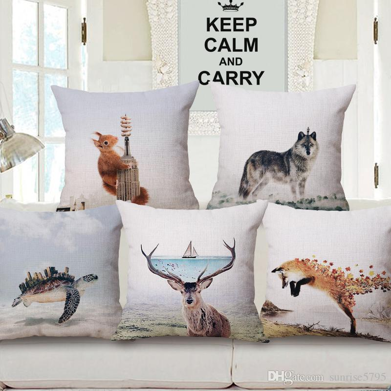 2018 nordic design cushion cover creative animal scenic chaise chair throw pillow case wolf fish turtle almofada deer fox cojine cushions for outside - Nordic Design Chaise