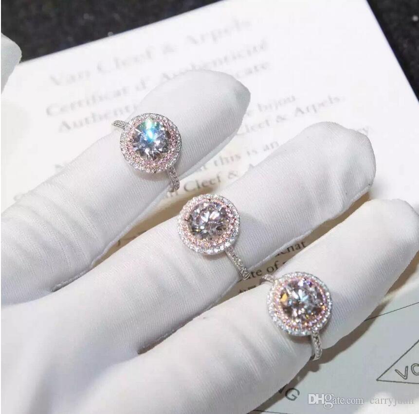 빅토리아 Wieck 손으로 만든 럭셔리 보석 925 스털링 실버 라운드 컷 PinkWhite 사파이어 CZ 다이아몬드 보석 컬러 여성 웨딩 밴드 반지