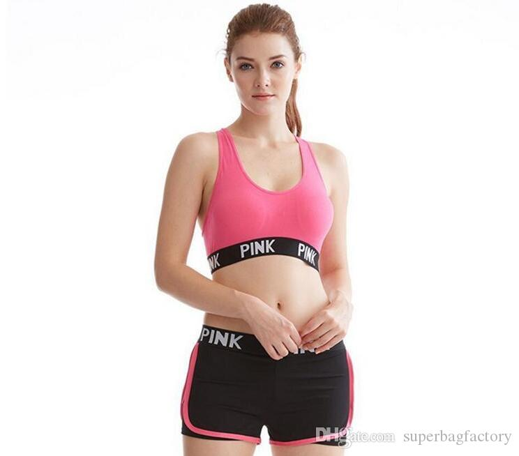 9c5200a1145b1 2019 Love Pink Letter Sexy Women Sports Bra Running Yoga Vest Shirts  Shakeproof Gym Fitness Bra Push Up Elastic Crop Tops Underwear 2018 From ...