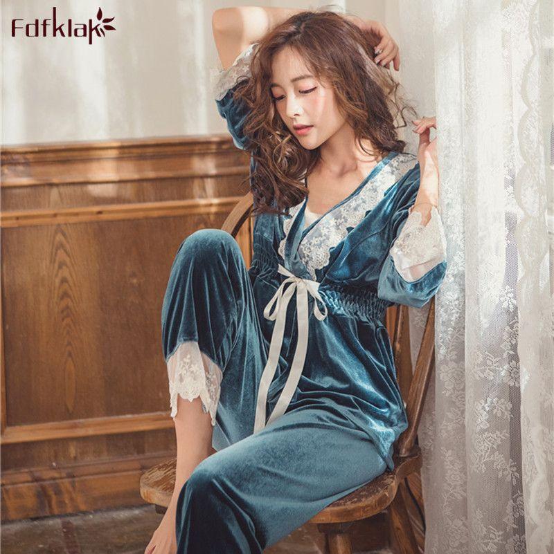 a5fd92a52 Fdfklak Women Autumn Winter Fashion Pajamas Sets High Quality Gold Velvet Pyjama  Set Sexy Lace Ladies Sleepwear Pijamas Suit Y18102205 Sexy Wear Silk ...