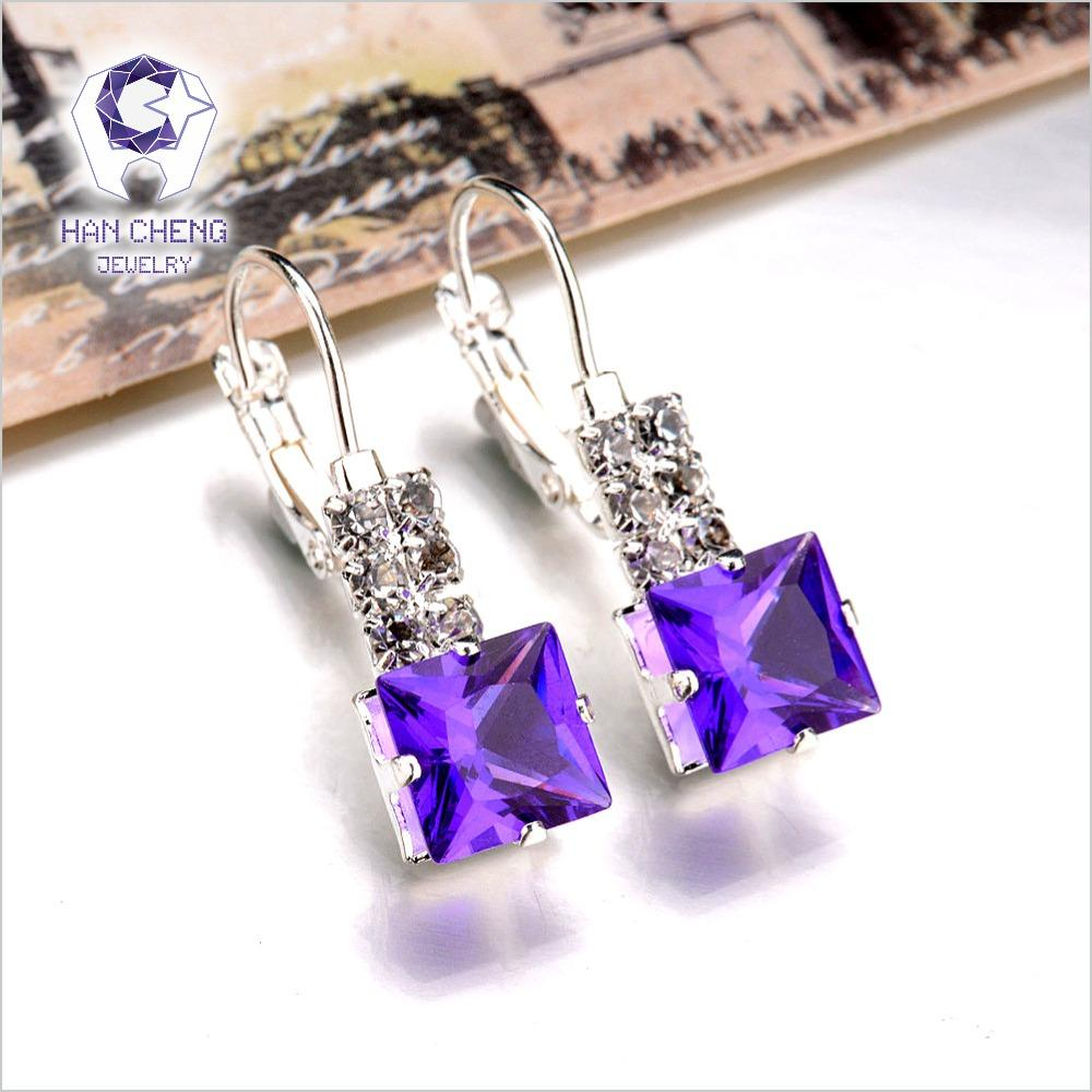New Fashion Luxury Romantic Silver Plated Rhinestone Square Created Crystal Stud Earrings For Women Jewelry brincos Bijoux