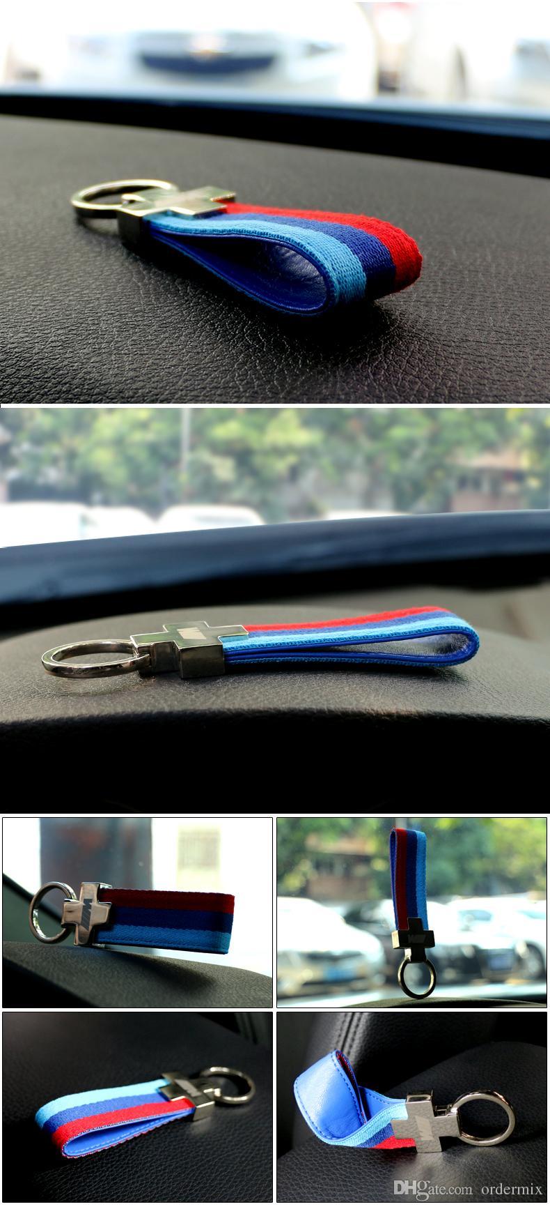 M Tech M Sport Leather Belt Chrome Keyring Keychain For BMW E46 E39 E60 F30 E90 F10 F30 E36 X5 E53 E30 E34 X1 X3 M3 M5 Key Chain