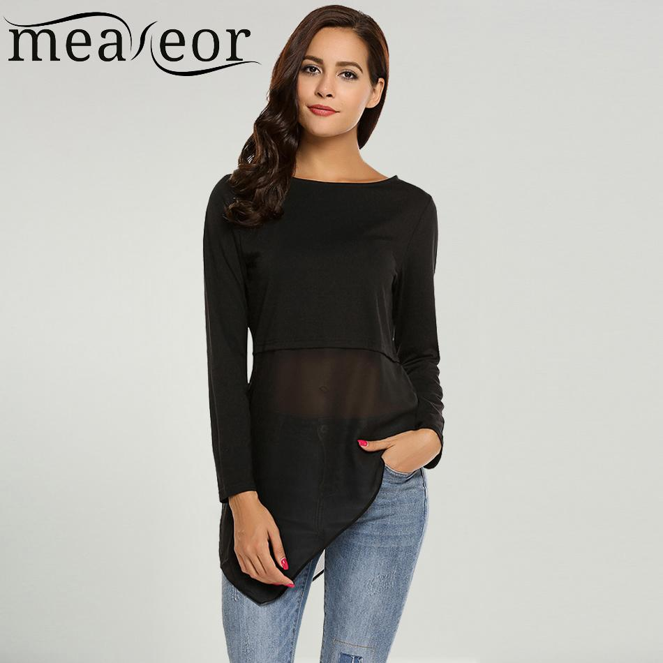 17c9bdaf6591 Meaneor Marke Frauen Tops Tee Mesh Patchwork Lange T-Shirts Chiffon Saum  T-Shirt Oansatz Langarm Pullover Asymmetrische T-Shirts S18100901