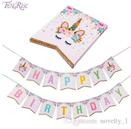 Compre FENGRISE Brilhante Unicórnio Feliz Aniversário Eu Sou Uma Bandeira  Do Chuveiro Do Bebê Crianças Favores Bandeira Dos Desenhos Animados  Bandeiras ... ea2e7b7c6946a