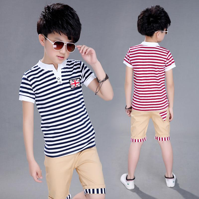 4cec8e7bf86c 2019 Children S Wear New Kids Sets Striped Short Sleeved Suit The ...