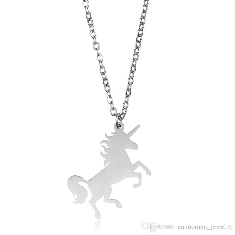 Licorne Pendentif Collier Cheval Pegasus En Acier Inoxydable Or Pour La Petite Fête Saint Valentin Femmes Hommes Cadeau Charme Bijoux En Gros