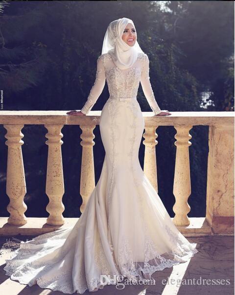 2018 Modesto Slim Fishtail stile arabo sirena abiti da sposa maniche lunghe pizzo applique o collo hijab sirena lungo abiti da sposa musulmano