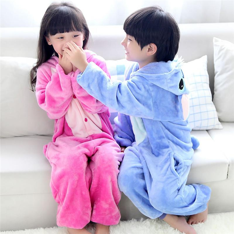 a9d9ec78cb5b Animal Pajamas For Kids Children s Autumn Winter Blue Pink Stitch ...