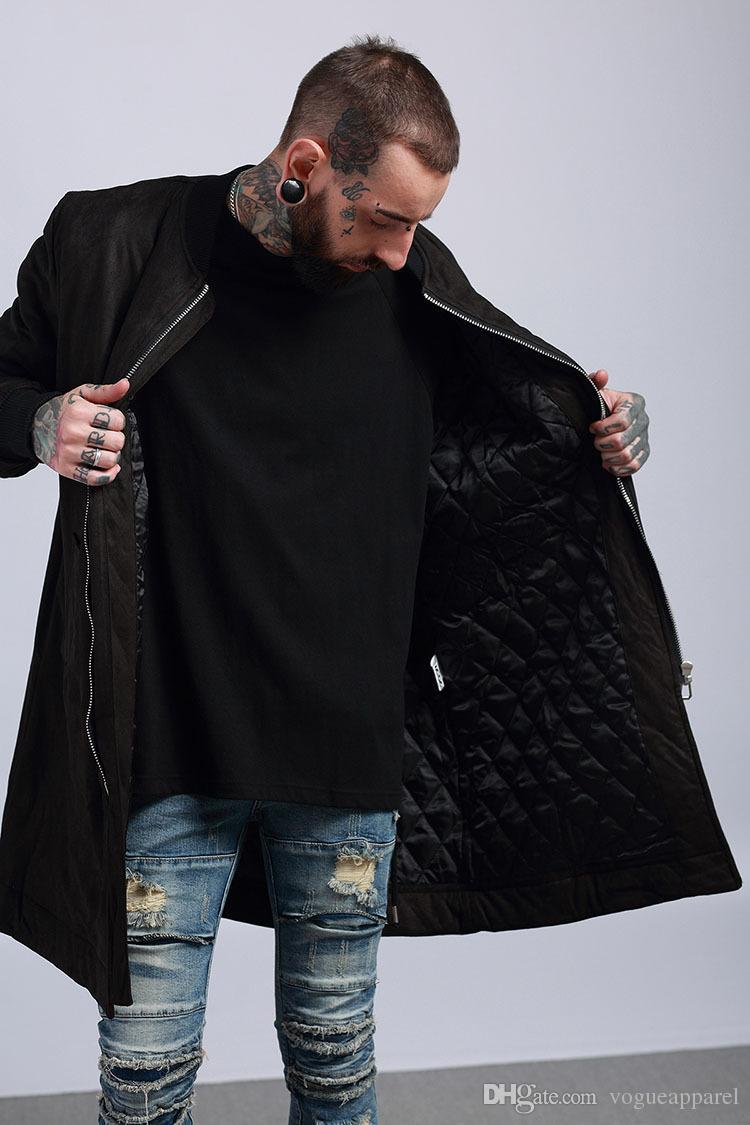 TKPA hommes hiver bas longues vestes en daim en cuir rembourré de coton chaud épais manteaux motorbiker vestes vêtements de plein air