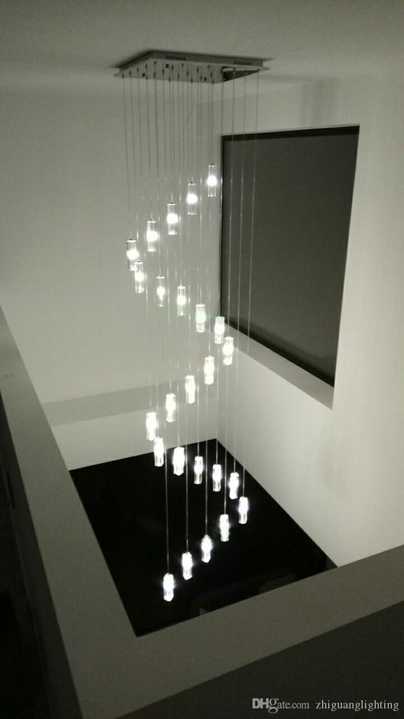 Led Crystal Chandelier Lighting Stairway Long Spiral Chandeliers Stairwell  Modern Led Chandeliers Staircase Chandelier Lighting Zg8065 Hanging Lights  For ...