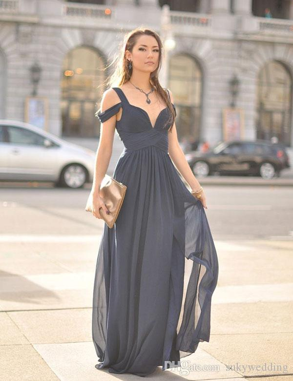 fb34a7a863c Chiffon Gray Bridesmaid Dresses Cold Shoulder A Line Wedding Guest Gowns  Pleated Wedding Party Prom Dresses