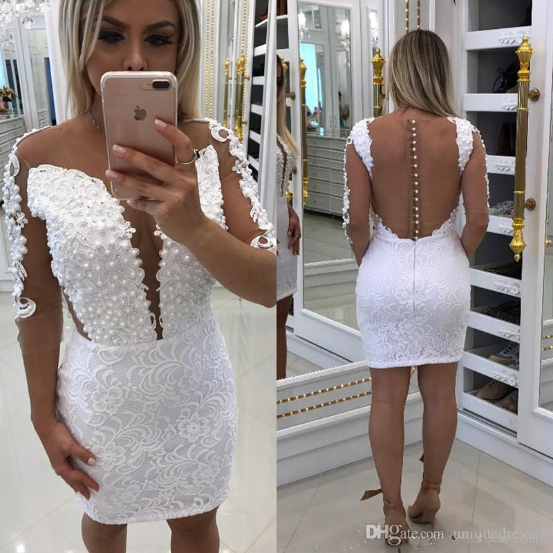 a8f3f6cf87fe3 2017 Sexy Little White Sheath Cocktail Dresses Sheer Neck Lace Appliques  Beading Illusion Back Short Mini Homecoming Dress Party Gowns