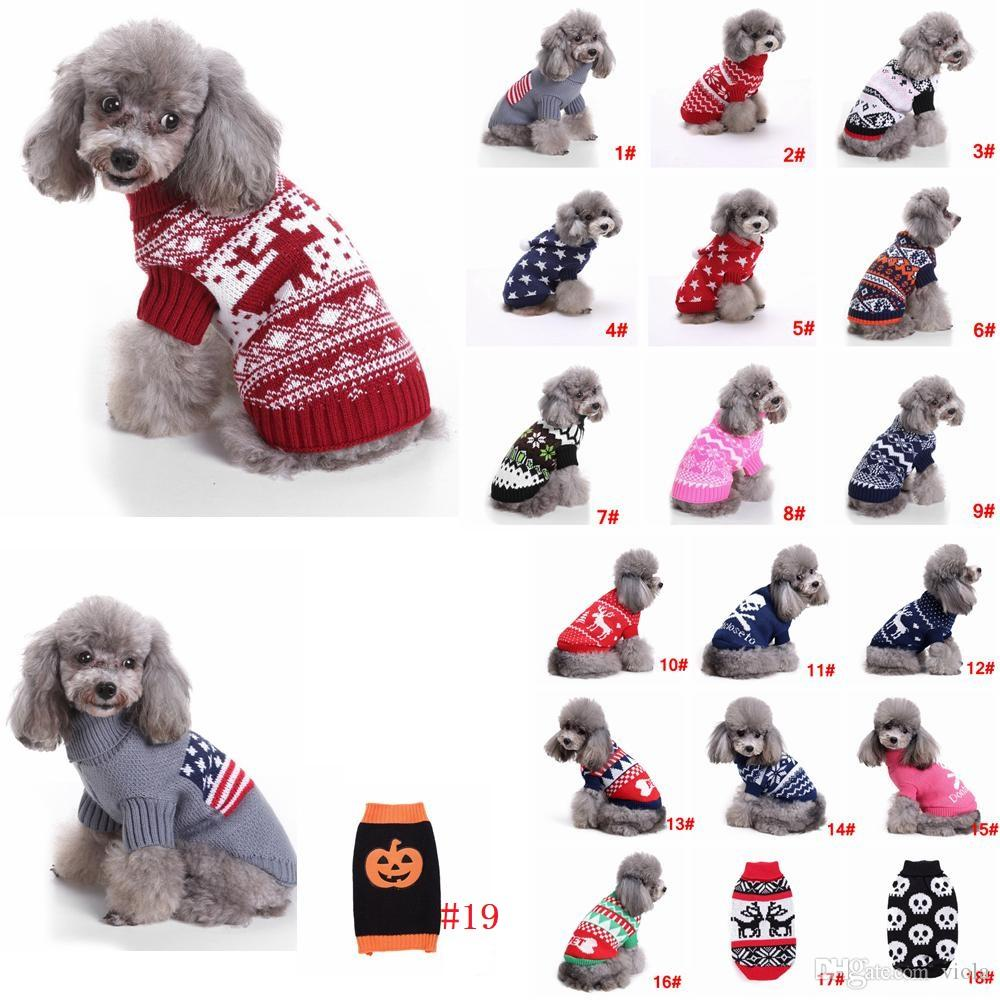 Dog Christmas Sweater.S 2xl Pet Dog Christmas Sweater Striped Wapiti Knitted Turtleneck Warm Xmas Santa Claus Clothing Coat Classic Pet Outfit 19styles
