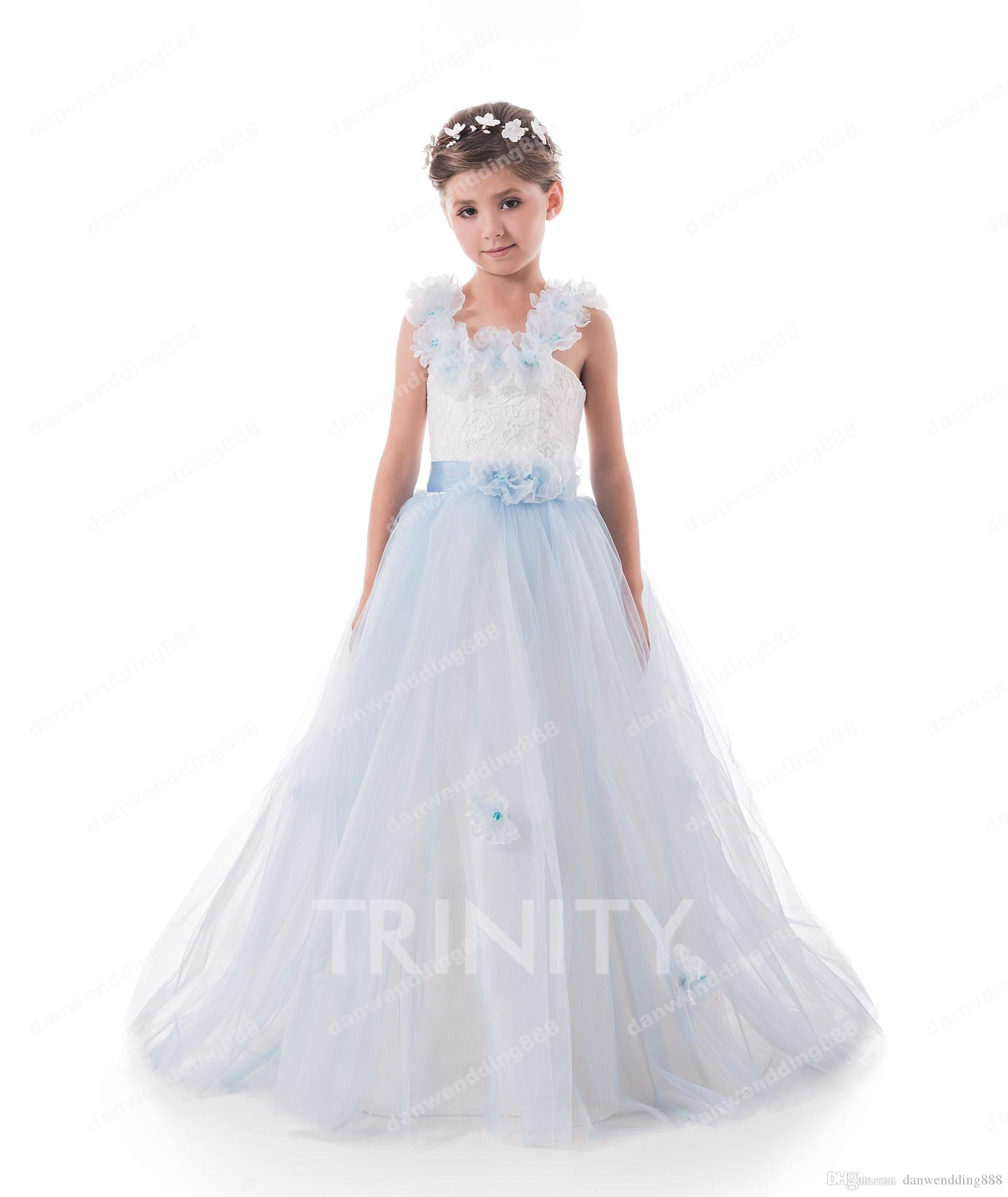 Bright Yellow Blue Red Tulle Straps Flower Girl Dresses Princess