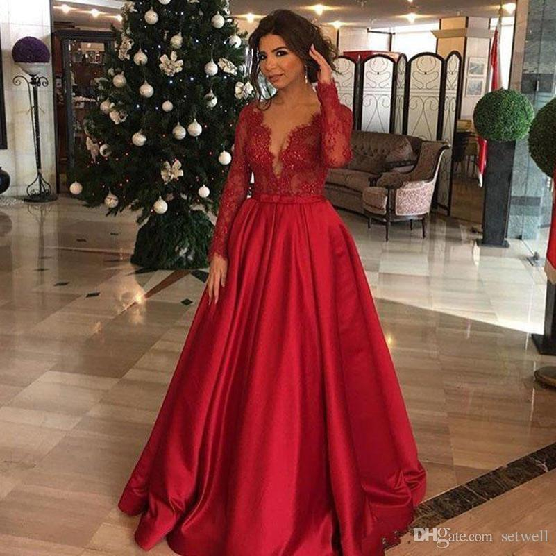 Custom Made Long Sleeves Prom Dresses Sexy V Neck Lace Applique Evening Dress Floor Length A-line Evening Gowns